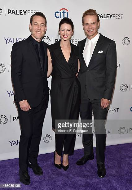 Actors Tobias Menzies Caitriona Balfe and Sam Heughan attend The Paley Center for Media's 32nd Annual PALEYFEST LA 'Outlander' at Dolby Theatre on...