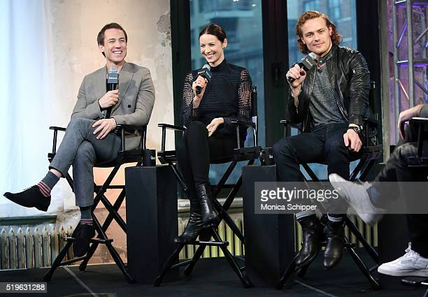 Actors Tobias Menzies Caitriona Balfe and Sam Heughan speak at AOL Build Speakers Series Caitriona Balfe And Sam Heughan 'Outlander' at AOL Studios...