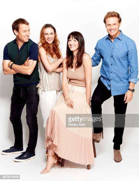Actors Tobias Menzies Sophie Skelton Caitriona Balfe and Sam Heughan from Starz' 'Outlander' poses for a portrait during ComicCon 2017 at Hard Rock...
