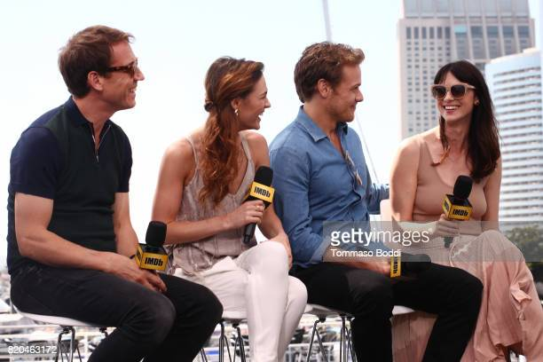 Actors Tobias Menzies Sophie Skelton Sam Heughan and Caitriona Balfe on the #IMDboat at San Diego ComicCon 2017 at The IMDb Yacht on July 21 2017 in...