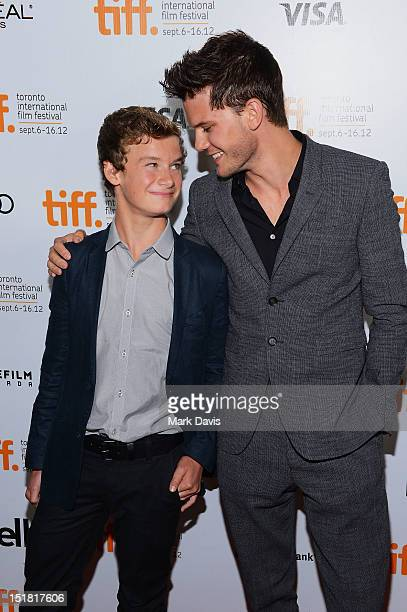 Actors Toby and Jeremy Irvine arrive at the 'Great Expectations' Premiere during the 2012 Toronto International Film Festival at Roy Thomson Hall on...