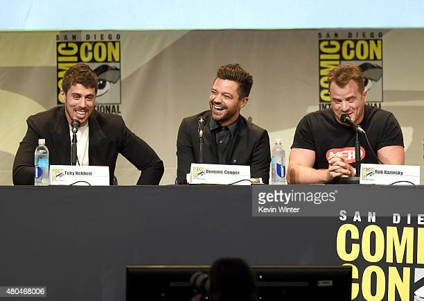 Actors Toby Kebbell Dominic Cooper and Rob Kazinsky speak onstage at the Legendary Pictures panel during ComicCon International 2015 the at the San...