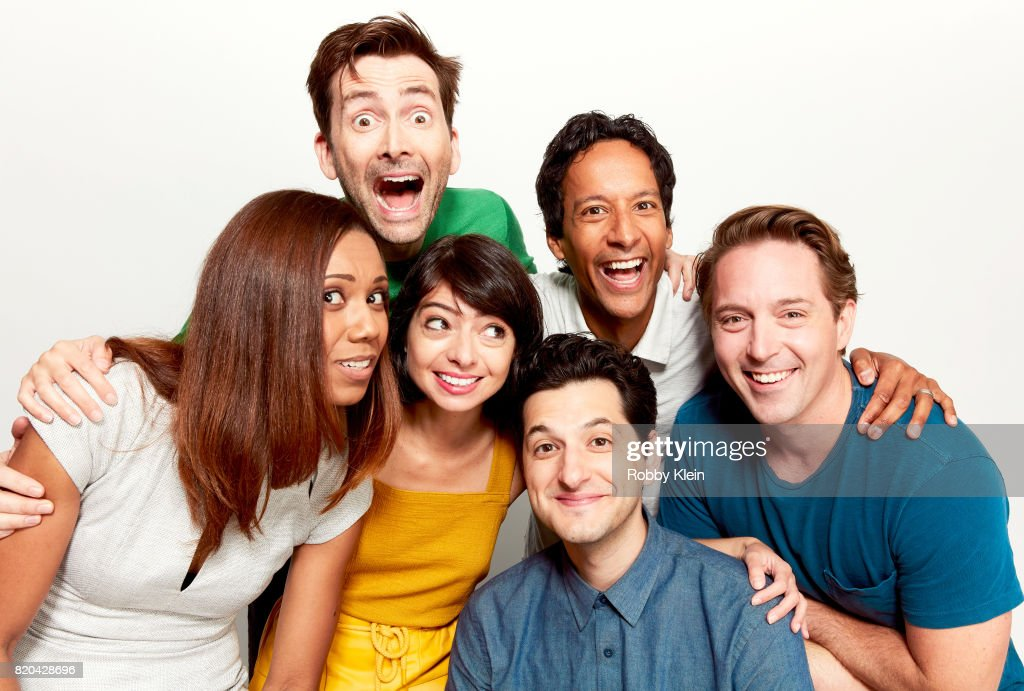 Actors Toks Olagundoye, David Tennant, Kate Micucci, Danny Pudi, Ben Schwartz and Beck Bennett of Disney's 'DuckTales' pose for a portrait during Comic-Con 2017 at Hard Rock Hotel San Diego on July 21, 2017 in San Diego, California.