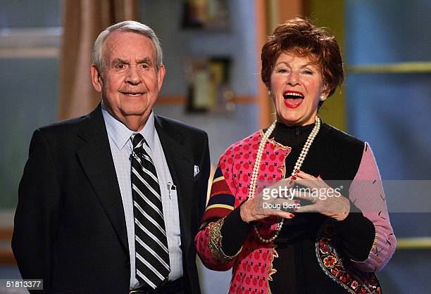 Actors Tom Bosley L and Marion Ross of 'Happy Days' speak to the audience during the taping of the 6th Annual Family Television Awards at the Beverly...