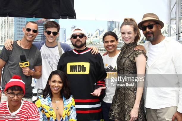 Actors Tom Cavanagh Grant Gustin Carlos Valdez Danielle Panabaker Jesse Martin Keiynan Lonsdale Candice Patton and host Kevin Smith on the #IMDboat...