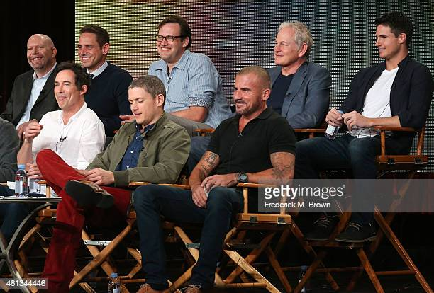 Actors Tom Cavanagh Wentworth Miller Dominic Purcell executive producers Marc Guggenheim Greg Berlanti and Andrew Kreisberg and actors Victor Garber...