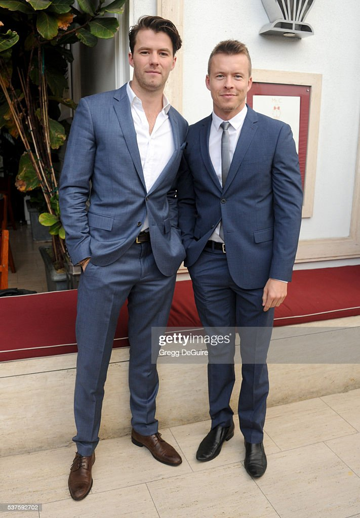 Actors Tom Cocquerelle and Todd Lasance arrive at Australians In Film Heath Ledger Scholarship Dinner on June 1 2016 in Beverly Hills California