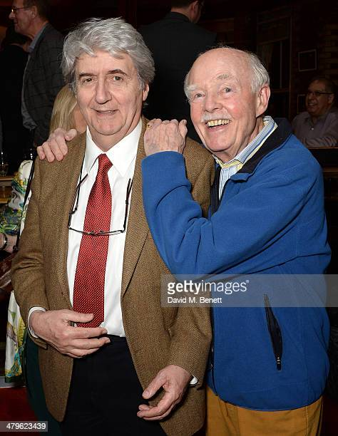 Actors Tom Conti and Ray Cooney attend the press night of 'Two Into One' at Menier Chocolate Factory on March 19 2014 in London England