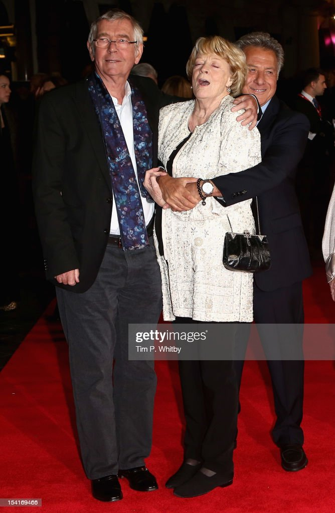 Actors Tom Courtenay, Maggie Smith and director Dustin Hoffman attend the 'Quartet' premiere during the 56th BFI London Film Festival at the Odeon Leicester Square on October 15, 2012 in London, England.