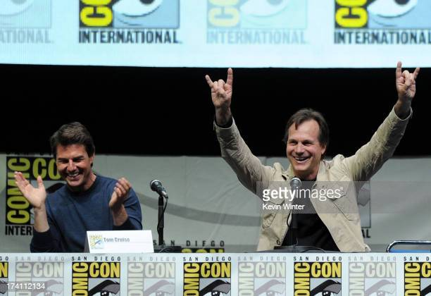 Actors Tom Cruise and Bill Paxton speak onstage at the Warner Bros and Legendary Pictures preview of 'Edge of Tomorrow' during ComicCon International...