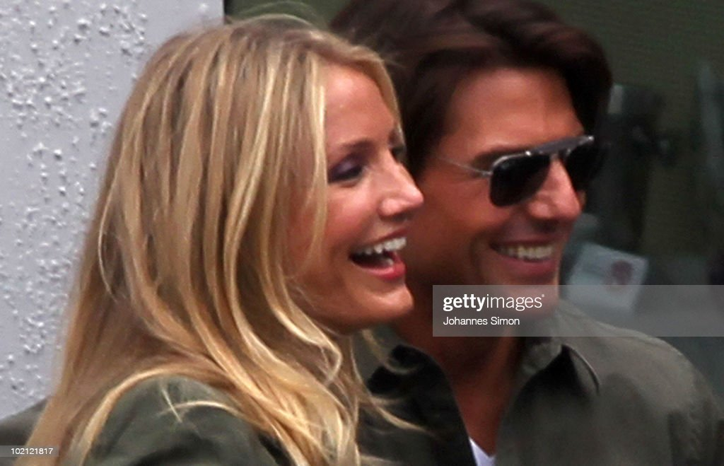 Actors Tom Cruise (R) and Cameron Diaz chat together on top of the roof of Hotel Stein promoting their new movie film 'Knight And Day' on June 15, 2010 in Salzburg, Austria.