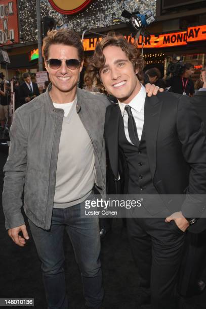 Actors Tom Cruise and Diego Boneta arrive at the 'Rock of Ages' Los Angeles premiere held at Grauman's Chinese Theatre on June 8 2012 in Hollywood...