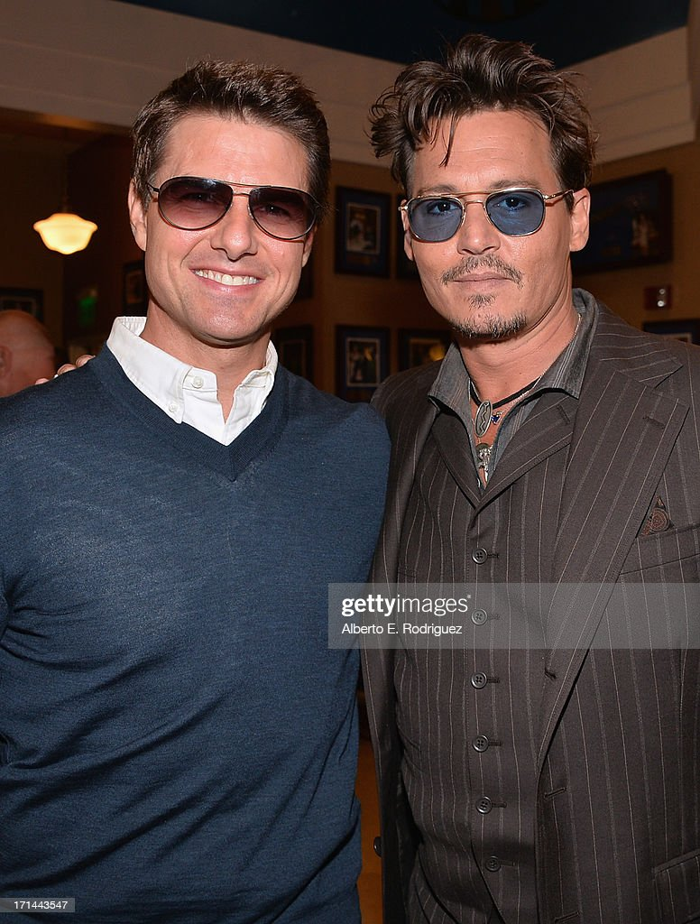 Actors <a gi-track='captionPersonalityLinkClicked' href=/galleries/search?phrase=Tom+Cruise&family=editorial&specificpeople=156405 ng-click='$event.stopPropagation()'>Tom Cruise</a> and <a gi-track='captionPersonalityLinkClicked' href=/galleries/search?phrase=Johnny+Depp&family=editorial&specificpeople=202150 ng-click='$event.stopPropagation()'>Johnny Depp</a> attends Legendary Producer Jerry Bruckheimer Hollywood Walk of Fame Star Ceremony on the Hollywood Walk of Fame on June 24, 2012 in Hollywood, California.