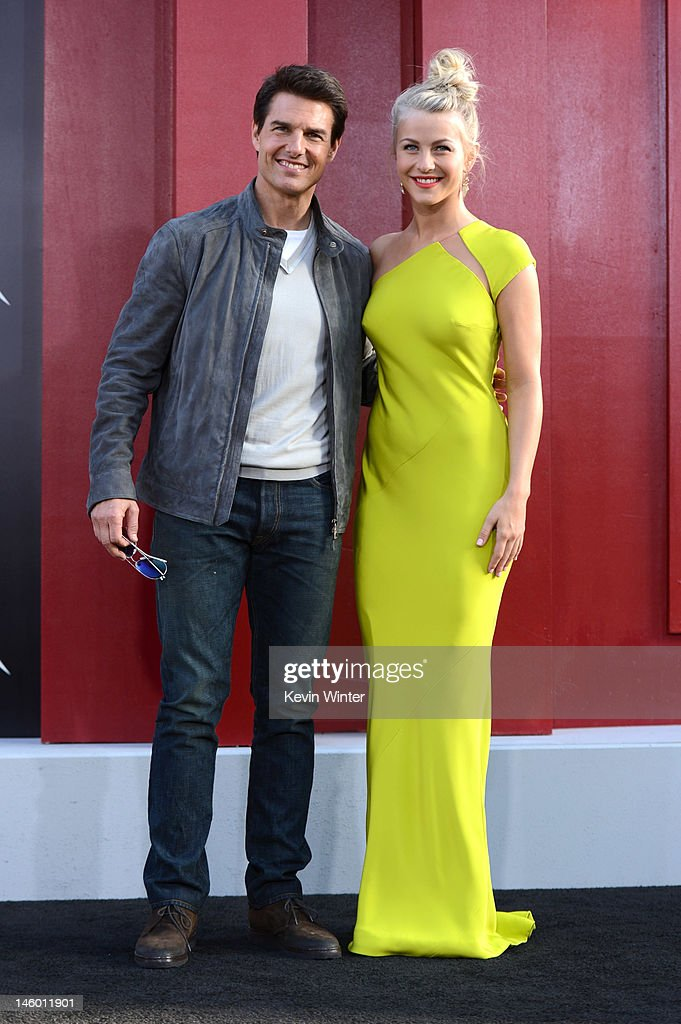 Actors <a gi-track='captionPersonalityLinkClicked' href=/galleries/search?phrase=Tom+Cruise&family=editorial&specificpeople=156405 ng-click='$event.stopPropagation()'>Tom Cruise</a> and <a gi-track='captionPersonalityLinkClicked' href=/galleries/search?phrase=Julianne+Hough&family=editorial&specificpeople=4237560 ng-click='$event.stopPropagation()'>Julianne Hough</a> arrive at the premiere of Warner Bros. Pictures' 'Rock of Ages' at Grauman's Chinese Theatre on June 8, 2012 in Hollywood, California.