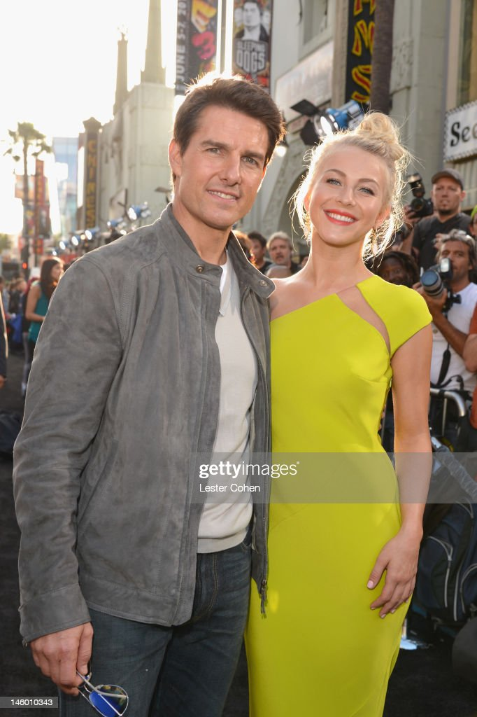 Actors <a gi-track='captionPersonalityLinkClicked' href=/galleries/search?phrase=Tom+Cruise&family=editorial&specificpeople=156405 ng-click='$event.stopPropagation()'>Tom Cruise</a> (L) and <a gi-track='captionPersonalityLinkClicked' href=/galleries/search?phrase=Julianne+Hough&family=editorial&specificpeople=4237560 ng-click='$event.stopPropagation()'>Julianne Hough</a> arrive at the 'Rock of Ages' Los Angeles premiere held at Grauman's Chinese Theatre on June 8, 2012 in Hollywood, California.