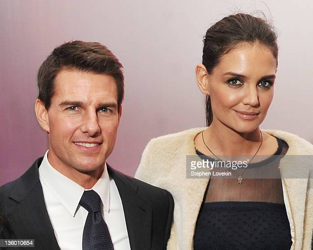 Actors Tom Cruise and Katie Holmes attend the 'Mission Impossible Ghost Protocol' US premiere after party at the Museum of Modern Art on December 19...