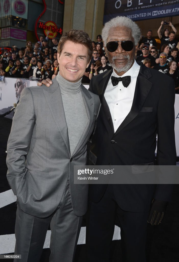 Actors <a gi-track='captionPersonalityLinkClicked' href=/galleries/search?phrase=Tom+Cruise&family=editorial&specificpeople=156405 ng-click='$event.stopPropagation()'>Tom Cruise</a> and <a gi-track='captionPersonalityLinkClicked' href=/galleries/search?phrase=Morgan+Freeman&family=editorial&specificpeople=169833 ng-click='$event.stopPropagation()'>Morgan Freeman</a> arrive at the premiere of Universal Pictures' 'Oblivion' at Dolby Theatre on April 10, 2013 in Hollywood, California.