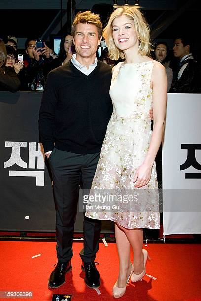 Actors Tom Cruise and Rosamund Pike attend the 'Jack Reacher' Fan Screening at Busan Cinema Center on January 10 2013 in Busan South Korea The film...