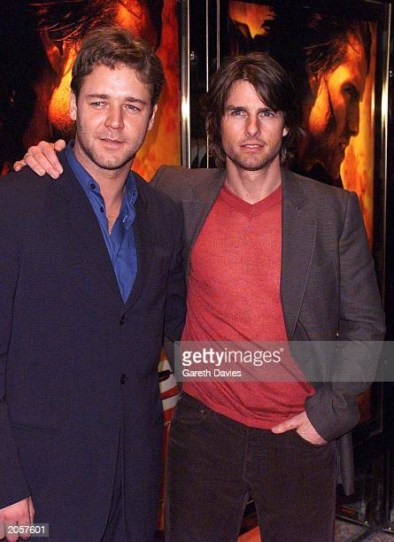 Actors Tom Cruise and Russell Crowe at the Mission Impossible 2 premiere party at Tower Bridge London on July 4 2000 Cruise played Ethan Hunt in the...