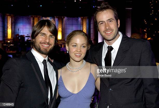 Actors Tom Cruise Erika Christensen and Jason Lee pose during the Church of Scientology's 33rd Anniversary Gala at the Celebrity Center on August 3...