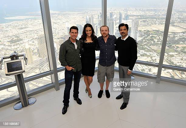 Actors Tom Cruise Paula Patton Simon Pegg and Anil Kapoor attend a photocall ahead of the 'Mission Impossible Ghost Protocol' Press Conference during...