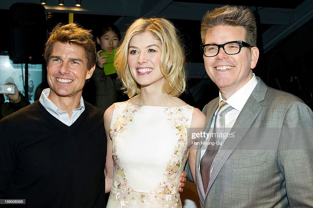 Actors Tom Cruise, Rosamund Pike and director Christopher McQuarrie attend the 'Jack Reacher' Fan Screening at Busan Cinema Center on January 10, 2013 in Busan, South Korea. The film will open on January 17 in South Korea.