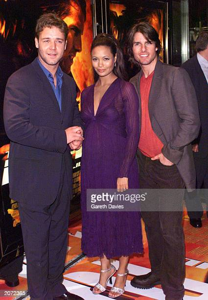 Actors Tom Cruise Thandie Newton and Russell Crowe at the UK premiere of 'Mission Impossible 2' at The Empire cinema Leicester Square London on July...