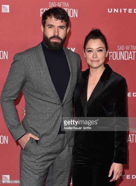 Actors Tom Cullen and Tatiana Maslany arrive at SAGAFTRA Foundation Patron of the Artists Awards 2017 on November 9 2017 in Beverly Hills California