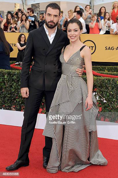 Actors Tom Cullen and Tatiana Maslany arrive at the 21st Annual Screen Actors Guild Awards at The Shrine Auditorium on January 25 2015 in Los Angeles...