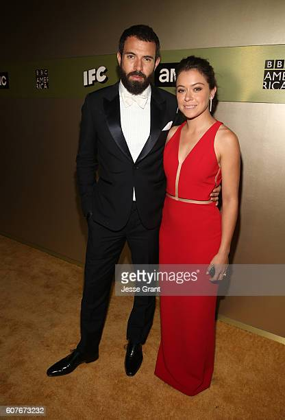 Actors Tom Cullen and Tatiana Maslany attend AMC Networks Emmy Party at BOA Steakhouse on September 18 2016 in West Hollywood California