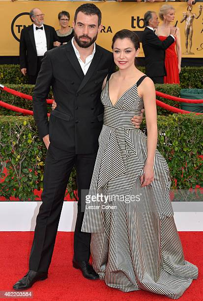Actors Tom Cullen and Tatiana Maslany attend the 21st Annual Screen Actors Guild Awards at The Shrine Auditorium on January 25 2015 in Los Angeles...