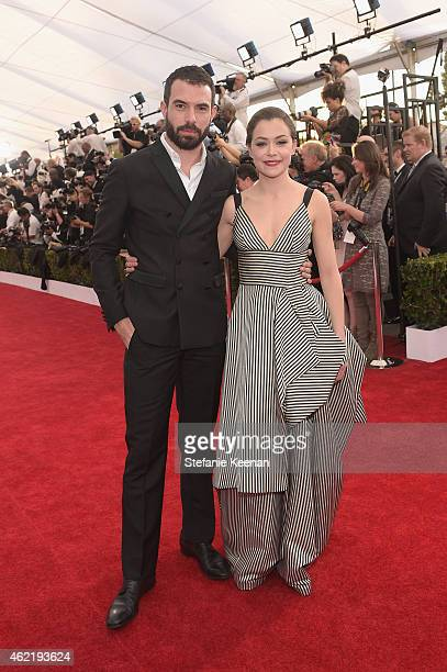Actors Tom Cullen and Tatiana Maslany attend TNT's 21st Annual Screen Actors Guild Awards at The Shrine Auditorium on January 25 2015 in Los Angeles...