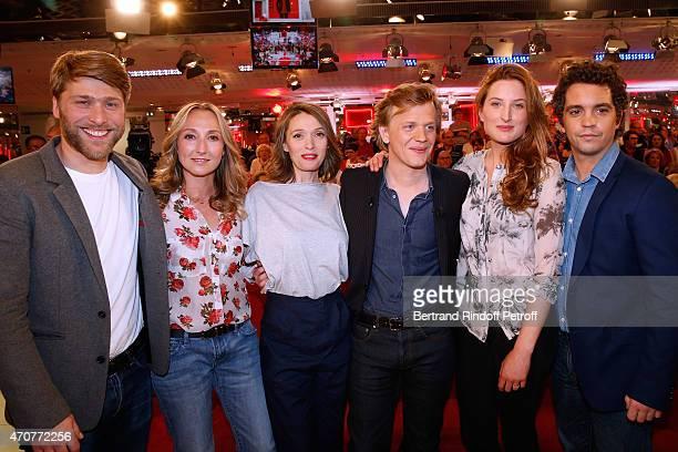 Actors Tom Dingler Audrey Lamy Anne Marivin Main Guest of the show Alex Lutz Julia Piaton and Bruno Sanches present the movie 'Le Talent de mes amis'...