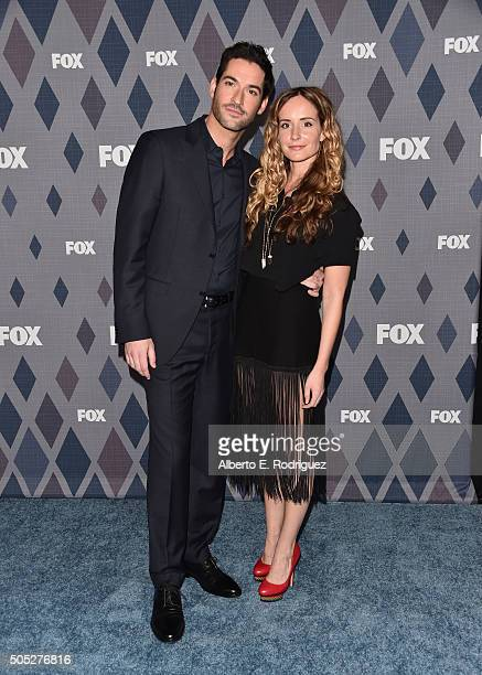 Actors Tom Ellis and Meaghan Oppenheimer attend the FOX Winter TCA 2016 AllStar Party at The Langham Huntington Hotel and Spa on January 15 2016 in...