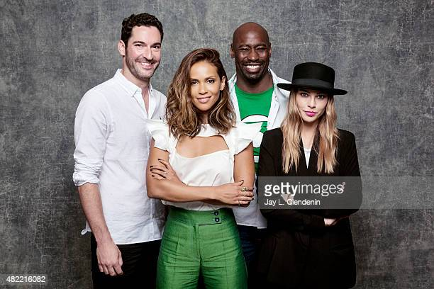 Actors Tom Ellis DB Woodside Lauren German and LesleyAnn Brandt of 'Lucifer' pose for a portraits at ComicCon International 2015 for Los Angeles...