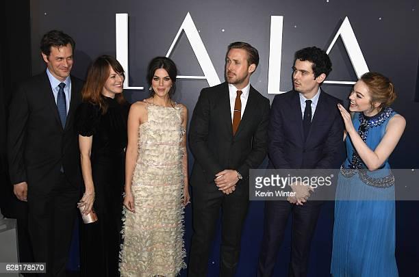 Actors Tom Everett Scott Rosemarie DeWitt Callie Hernandez Ryan Gosling director Damien Chazelle and actress Emma Stone attend the premiere of...