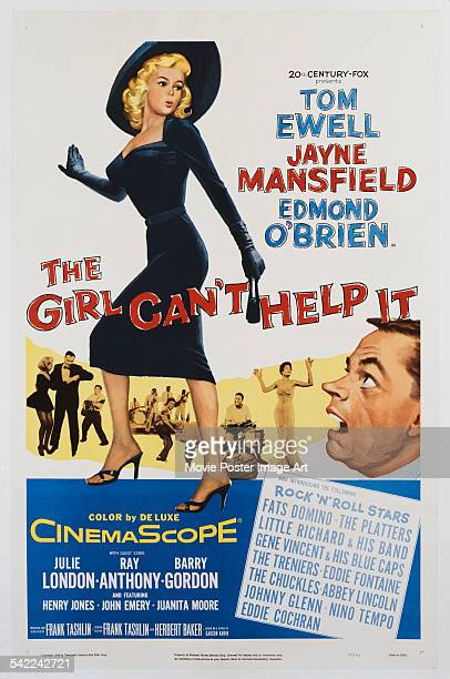Actors Tom Ewell and Jayne Mansfield appear on the poster for the 20th Century Fox film 'The Girl Can't Help It' 1956