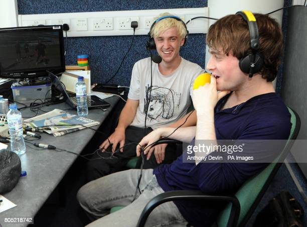 Actors Tom Felton and Daniel Radcliffe are interviewed for Test Match Special during the fifth npower Test Match at the Oval London