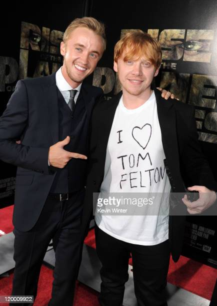 Actors Tom Felton and Rupert Grint arrive at the premiere of 20th Century Fox's 'Rise Of The Planet Of The Apes' held at Grauman's Chinese Theatre on...