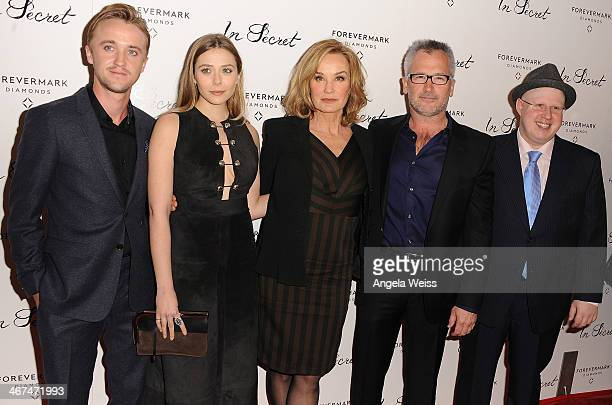 Actors Tom Felton Elizabeth Olsen Jessica Lange writer/director Charlie Stratton and actor Matt Lucas arrive at the Los Angeles premiere of 'In...
