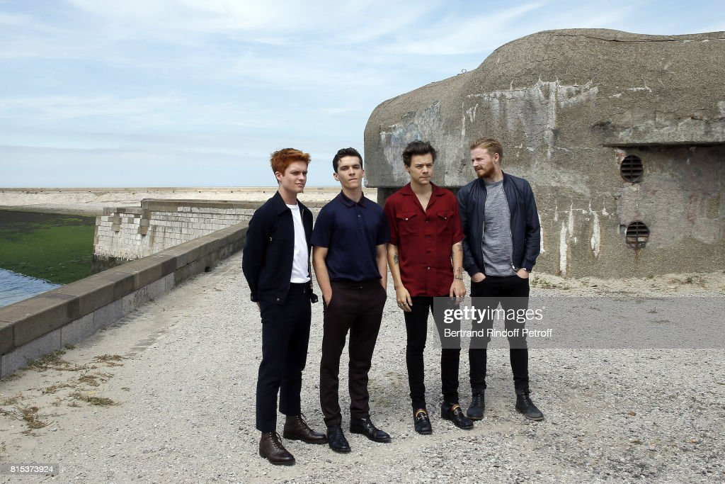 Actors Tom Glynn-Carney, Fionn Whitehead, Harry Styles and Jack Lowden pose for a photo at the Dunkirk photocall on July 16, 2017 in Dunkerque, France.