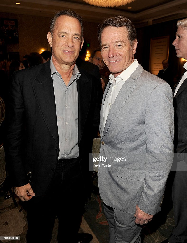 Actors <a gi-track='captionPersonalityLinkClicked' href=/galleries/search?phrase=Tom+Hanks&family=editorial&specificpeople=201790 ng-click='$event.stopPropagation()'>Tom Hanks</a> (L) and <a gi-track='captionPersonalityLinkClicked' href=/galleries/search?phrase=Bryan+Cranston&family=editorial&specificpeople=217768 ng-click='$event.stopPropagation()'>Bryan Cranston</a> attend the 14th annual AFI Awards Luncheon at the Four Seasons Hotel Beverly Hills on January 10, 2014 in Beverly Hills, California.