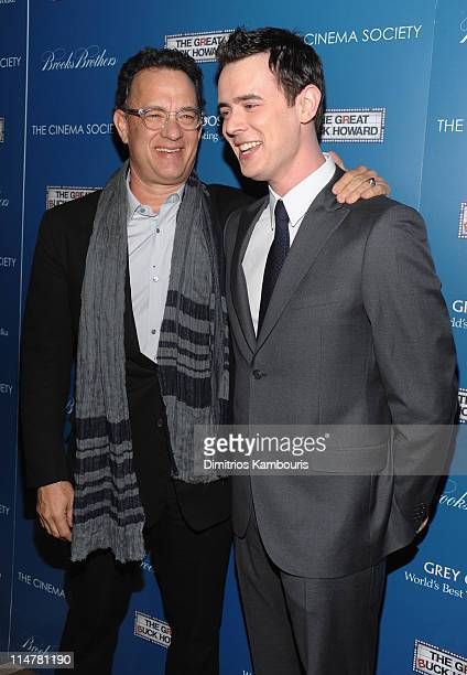 Actors Tom Hanks and Colin Hanks attend The Cinema Society and Brooks Brothers screening of 'The Great Buck Howard' at the Tribeca Grand Screening...