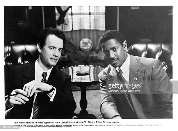 Actors Tom Hanks and Denzel Washington on the set of the Tri Star movie ' Philadelphia' in 1993