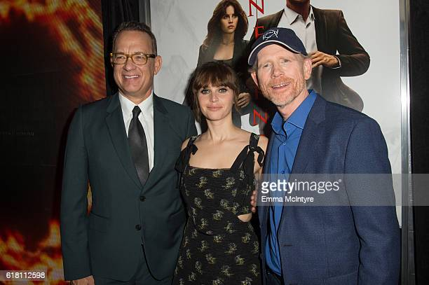 Actors Tom Hanks and Felicity Jones and director Ron Howard attend the screening of Sony Pictures Releasing's 'Inferno' at DGA Theater on October 25...