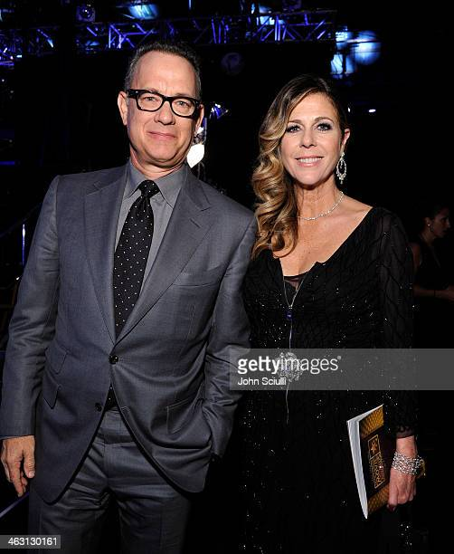 Actors Tom Hanks and Rita Wilson attend the 19th Annual Critics' Choice Movie Awards at Barker Hangar on January 16 2014 in Santa Monica California