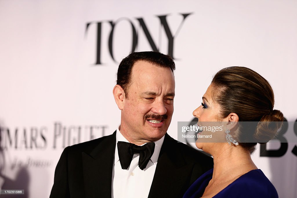 Actors <a gi-track='captionPersonalityLinkClicked' href=/galleries/search?phrase=Tom+Hanks&family=editorial&specificpeople=201790 ng-click='$event.stopPropagation()'>Tom Hanks</a> and <a gi-track='captionPersonalityLinkClicked' href=/galleries/search?phrase=Rita+Wilson&family=editorial&specificpeople=202642 ng-click='$event.stopPropagation()'>Rita Wilson</a> attend The 67th Annual Tony Awards at Radio City Music Hall on June 9, 2013 in New York City.