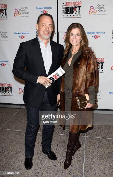 Actors Tom Hanks and Rita Wilson pose during the arrivals for the opening night performance of Green Day's 'American Idiot' at Center Theatre Group's...