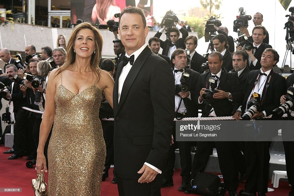 Actors Tom Hanks and wife Rita Wilson attend the screening of the film 'The Ladykillers' at the Palais des Festivals during the 57th International...