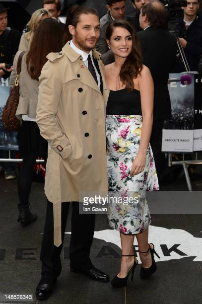 Actors Tom Hardy and Charlotte Riley attend European premiere of 'The Dark Knight Rises' at Odeon Leicester Square on July 18 2012 in London England